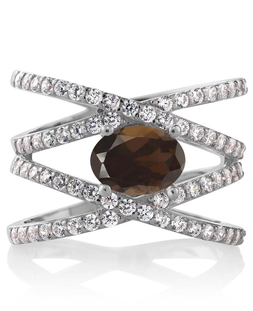 2.13 Ct Oval Brown Smoky Quartz 925 Sterling Silver Ring