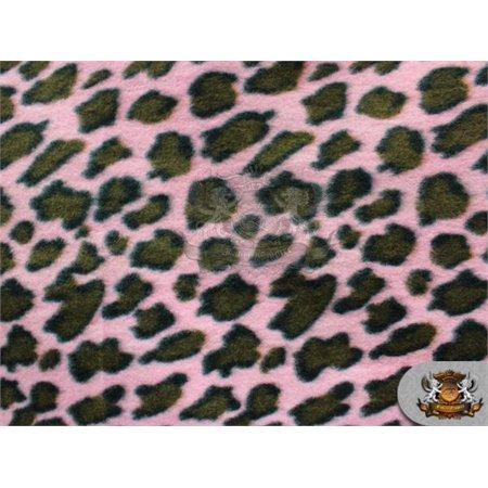 Fleece Fabric Printed * CHEETAH PINK BROWN */ 58