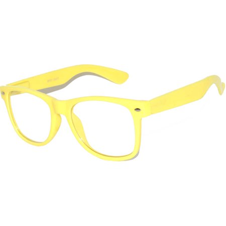 Yellow Frame Clear Lens (One Pair Retro 80's Vintage Party Sunglasses Yellow Frame Clear Lens OWL )