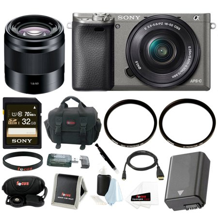 Sony Alpha A6000 Camera w/ 16-50mm & 50mm Lens, Accessory Bundle - Graphite