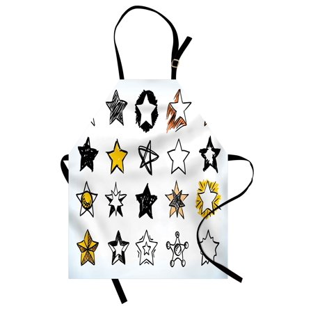 Star Apron Sweet Sixteen Stars Hand Drawn Style Colorful Art Rock Punk Themed Teen Room Design, Unisex Kitchen Bib Apron with Adjustable Neck for Cooking Baking Gardening, Yellow White, by Ambesonne