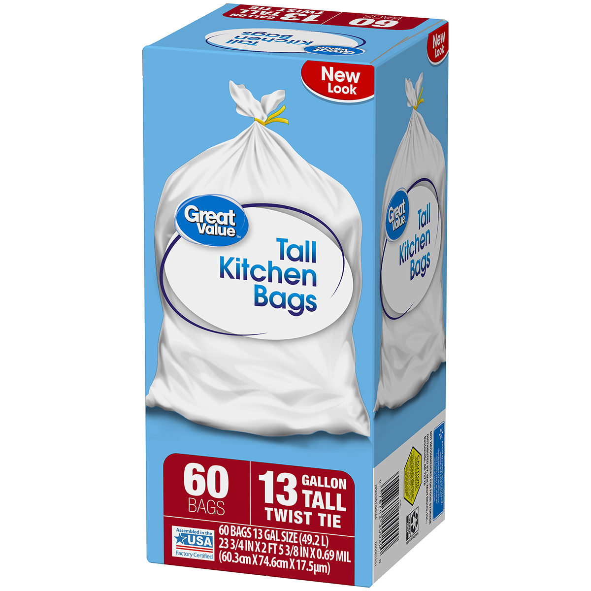 Great Value Tall Kitchen Twist Tie Trash Bags, 13 Gallon, 60 Count ...