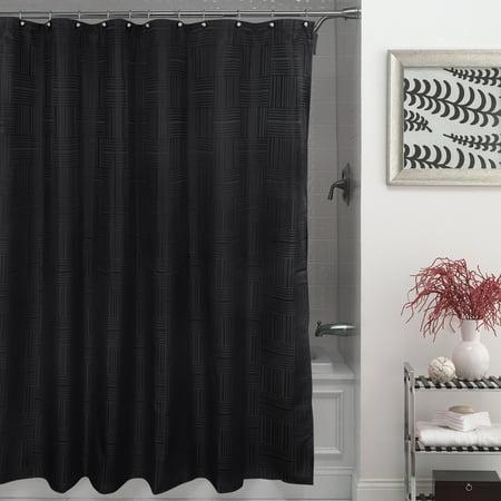 Mainstays Henderson Fabric Shower Curtain 100 Polyester 70 X 72 Black