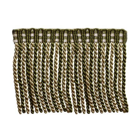 27 Yard Package of 6 Inch Long Bullion Fringe Trim, Style# DB6 - Olive Green, Light Gold, White - Olive Garden 010 (81 Ft / 25 (Fringe Olive)
