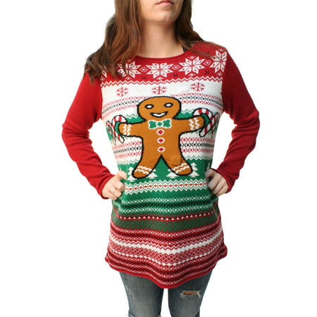 Ugly Christmas Sweater Women's Gingerbread LED Light Up - Ugly Christmas