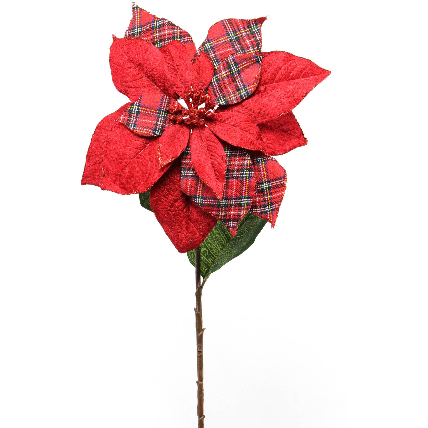 "Flower Shop Collection 5"" Poinsettia Stem, 12-Pack"