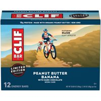 CLIF Bar Energy Bars, Peanut Butter Banana with Dark Chocolate, 10g Protein Bar, 12 Ct, 2.4 oz (Packaging May Vary)