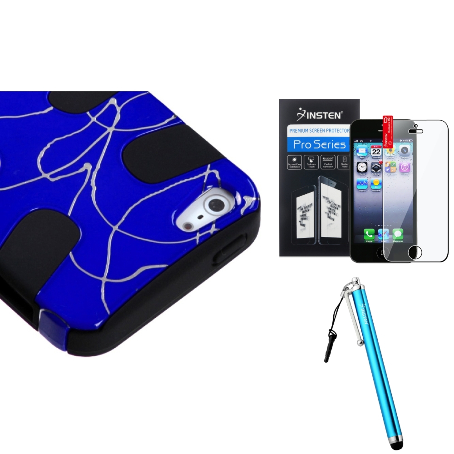 Insten Curved Lines Dark Blue/Black Fishbone Case For iPhone 5 / 5s + Stylus + Screen Guard