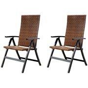 Hand-Woven PE Wicker Outdoor Reclining Chairs, Set of 2