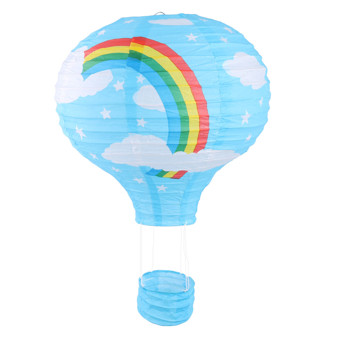 Paper Rainbow Pattern Lightless Hanging DIY Hot Air Balloon Lantern Blue