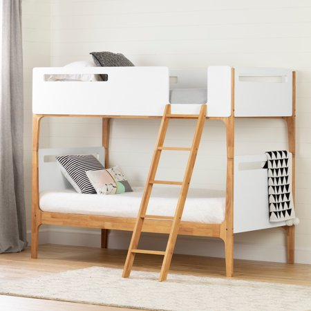 South Shore Bebble Modern Bunk Beds, Pure White and Exotic Light Wood