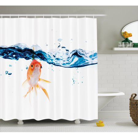 Fish Shower Curtain Goldfish Swimming Under Surface Of Clear Water