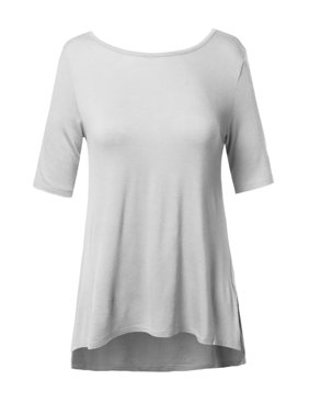 cecc6d458 Product Image FashionOutfit Women's Soft Stretch High-Low Elbow Sleeve Back  Cross Strap Top