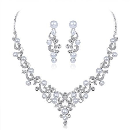 Women Girls Jewelry Set Pearl Rhinestone Pendant Necklace + Earring Eardrop for Banquet Wedding Valentine