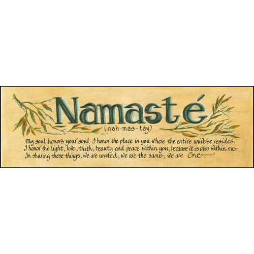 LPG Greetings Life Lines Namaste by Lori Voskuil-Dutter Textual Art Plaque