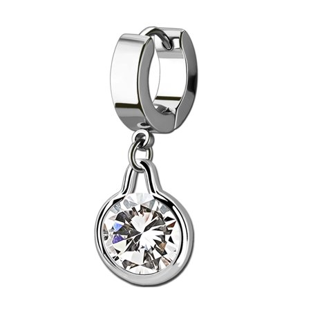 iJewelry2 Silver Tone Stainless Steel Huggie Hoop Tragus Helix Earring with Dangling Bezel Set Clear CZ