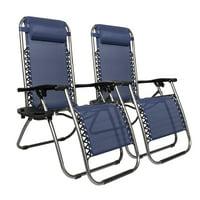 Zimtown 2PCS Outdoor Zero Gravity Folding Lounge Chair for Beach Patio Pool Yard Khaki