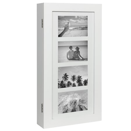 Best Choice Products Wall Mounted Jewelry Armoire Cabinet Organizer W/ 4 Picture