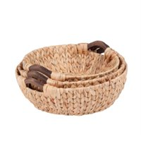 Honey Can Do Round Woven Baskets, Beige/Brown (Set of 3)