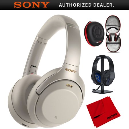 Sony WH1000XM3 Premium Noise Cancelling Wireless Bluetooth Headphones w/ Built In Microphone WH-1000XM3/S Silver + Deco Gear Premium Hard Case + Pro Audio Headphone Stand + Microfiber Cleaning Cloth