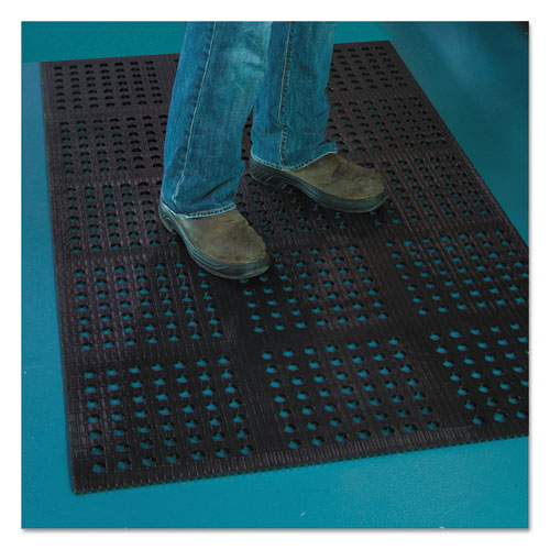 "ES Robbins Pro Lite Four-Way Drain Mat, 36"" x 120"", Black"