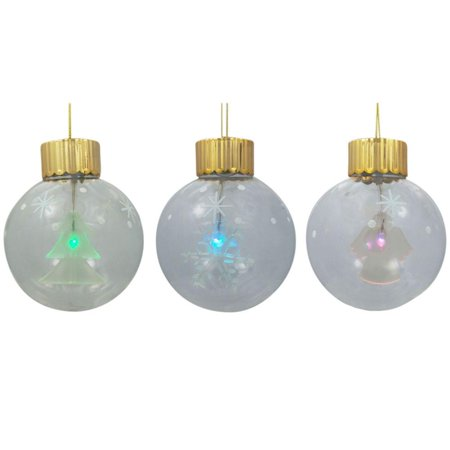 Snowflake, Christmas Tree, and Angel LED Color Changing Glass Ball Christmas Ornaments 3.5 Inches](Snowflake Glass)