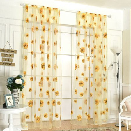 Voile Tulle Door Window Curtain, Elegant Yellow Sunflower Floral Print Window Sheer Gauze Panel Drapes Balcony Curtains 2 Panel,Yellow (Sunflower 5 Panel)