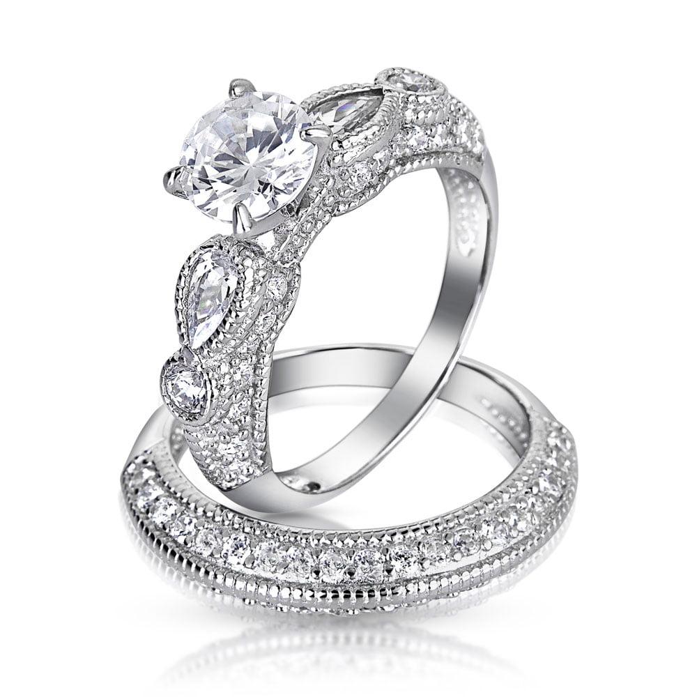 Bling Silver 1.25ct CZ Round Teardrop Wedding Engagement ...