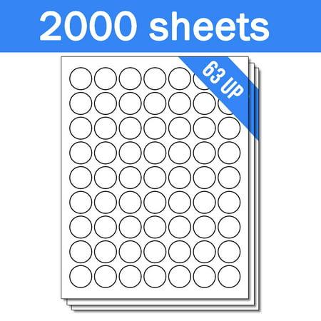 OfficeSmartLabels 1 inch Round Labels for Laser Inkjet (63 Labels Per Sheet, White, 50 Sheets )