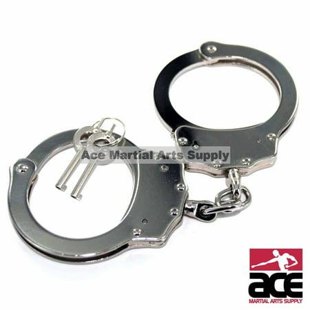 Buy Handcuffs (Professional Handcuffs Silver Steel Police Duty Double Lock w/Keys)