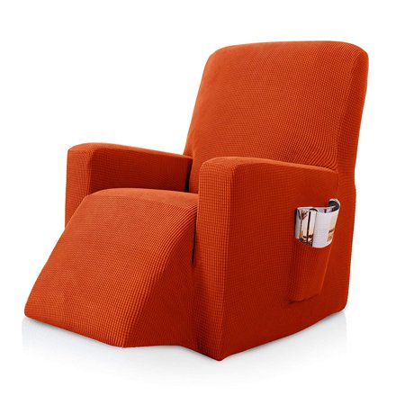 Subrtex Stretch Recliner Chair Slipcover Furniture Protector Lazy Boy Covers for Leather and Fabric Recliner Sofa with Side Pocket (Recliner, Orange) Chocolate Reclining Sofa