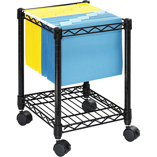 Safco Compact Mobile Wire File Cart, 1-Shelf, 300lbs, 15-1/2 x 14 x 19-1/2, Black