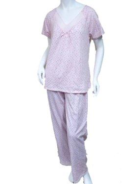 8d167d77e1 Product Image Laura Scott Womens Pink Polka Dot Pajamas Lightweight Short  Sleeve Pajama Set