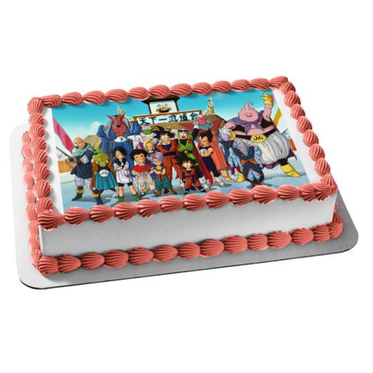 Marvelous Dragon Ball Z Goku Vegete Gohan Piccolo Edible Cake Topper Image Personalised Birthday Cards Arneslily Jamesorg