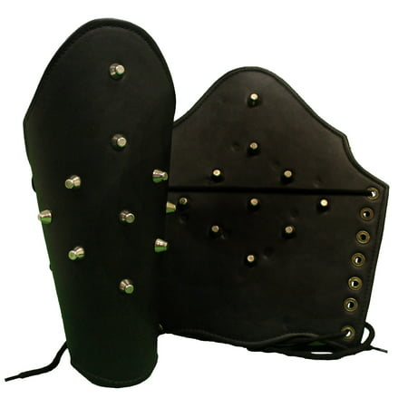 ROMAN LEATHER ARM GUARD - Metal Studs - COSTUME ARMOR - Black Leather Costumes