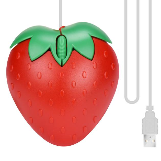 New Fashion Strawberry Optical USB LED Wired Game Mouse Mice For PC Laptop Computer