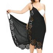 AKFashion Women's Plus Size Spaghetti Strap Sleeveless V Neck Hollow Out Backless Knee Length Dress