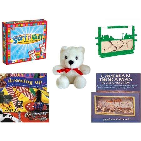 Children's Gift Bundle [5 Piece] -  Sort It Out!  - Uncle Milton's Ant Farm Live Ant Habitat  - White Teddy Bear Red Ribbon  5