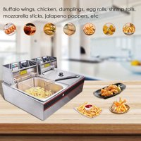 Yescom 12L 5000W Electric Countertop Deep Fryer Dual Tank Basket for Commercial Restaurant