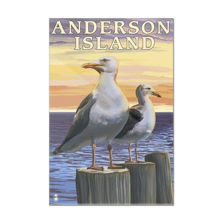 Anderson Island, Washington - Sea Gulls - Lantern Press Artwork (8x12 Acrylic Wall Art Gallery Quality)