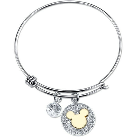 Disney 8mm Crystal Silver-Tone Two-Tone Never Stop Dreaming Gold Mickey Mouse with Bead Bangle Bracelet, 8""