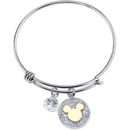 Disney 8mm Crystal Silver-Tone Two-Tone Never Stop Dreaming Gold Mickey Mouse with Bead Bangle Bracelet, 8