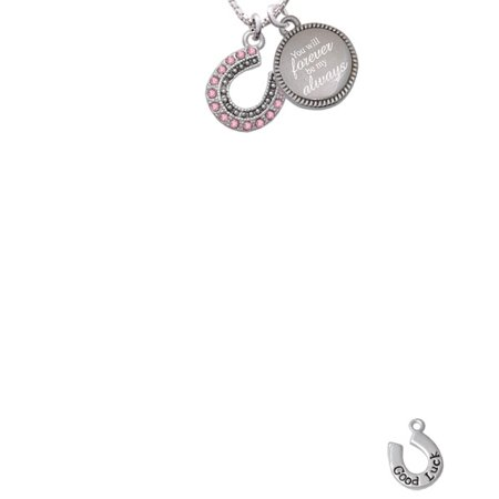 Silvertone Beaded Pink Crystal Horseshoe with Good Luck You Will Forever Be My Always Engraved Necklace