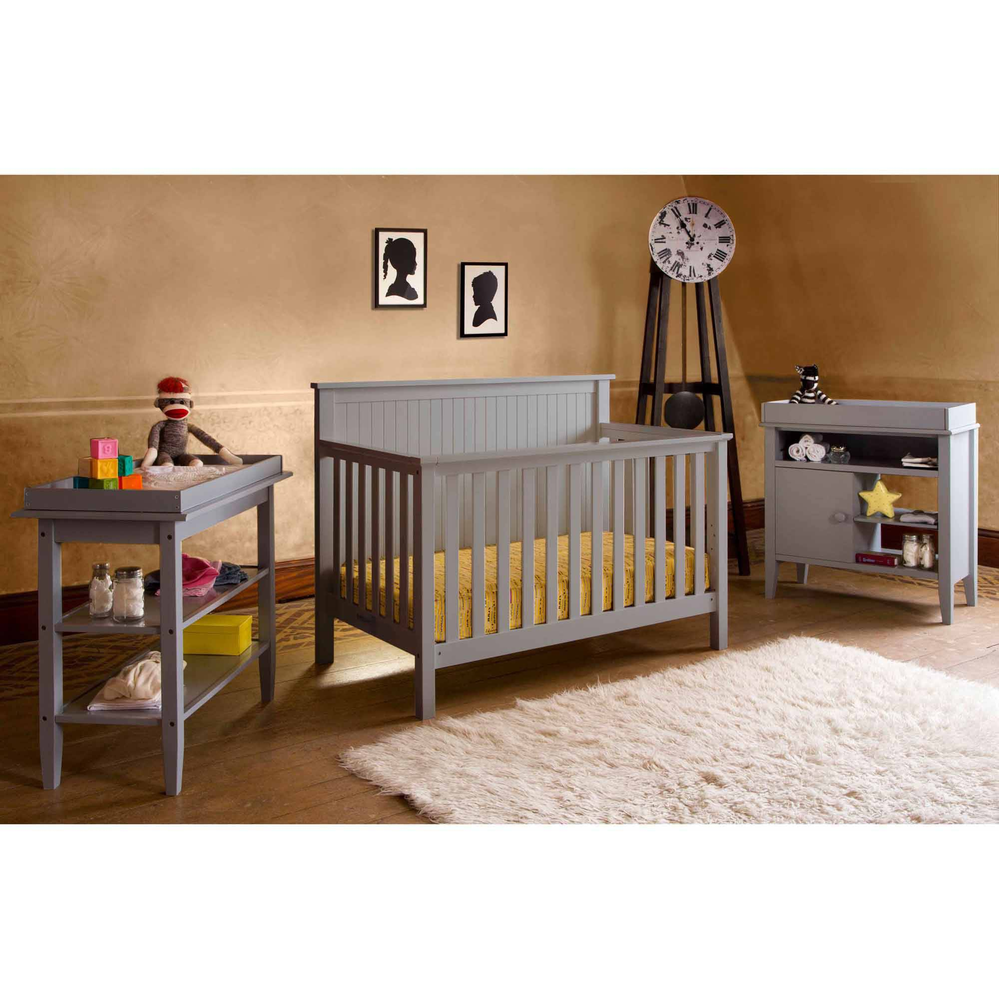 Lolly and Me Americana 4-in-1 Fixed-Side Convertible Crib, Pebble Grey