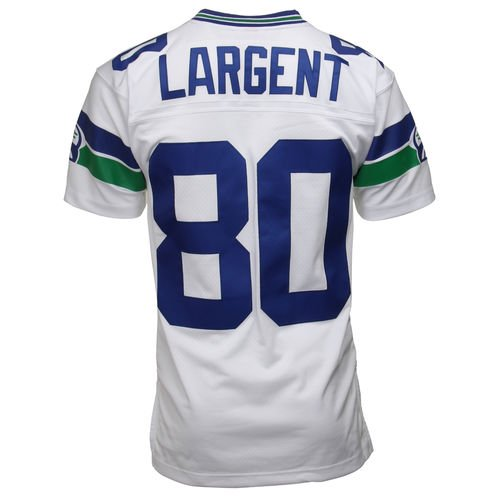 the latest 9bc4b c9157 Mens Seattle Seahawks Steve Largent Mitchell & Ness White 1985 Retired  Player Vintage Replica Jersey