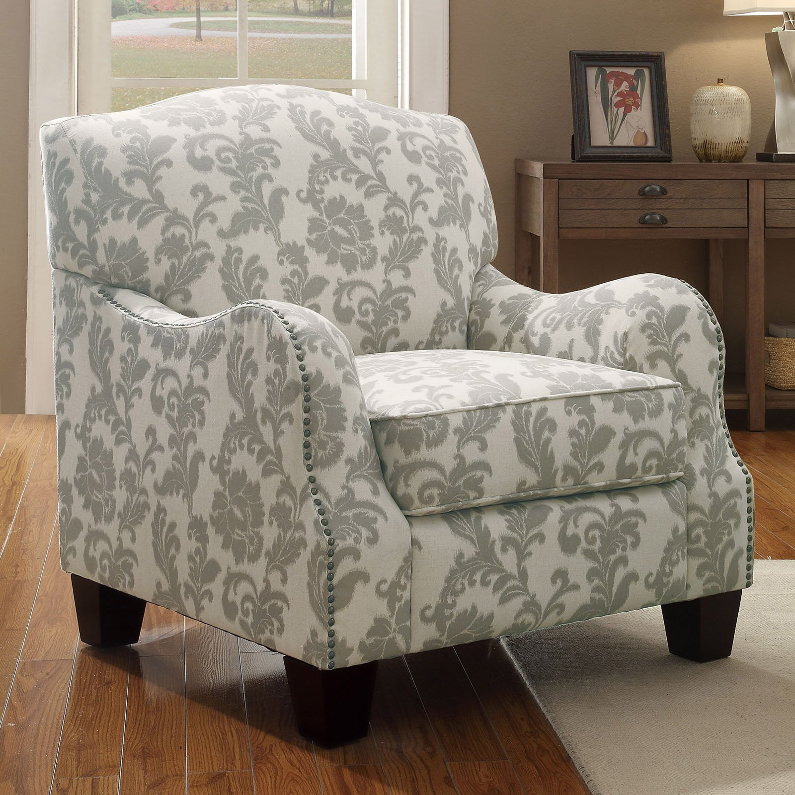 Coaster Traditional Fleur Pattern Accent Chair, Beige