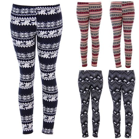 3 Styles Womens Christmas Warm Leggings Snowflake Reindeer Print Tights High Waist Stretchy Long Pants
