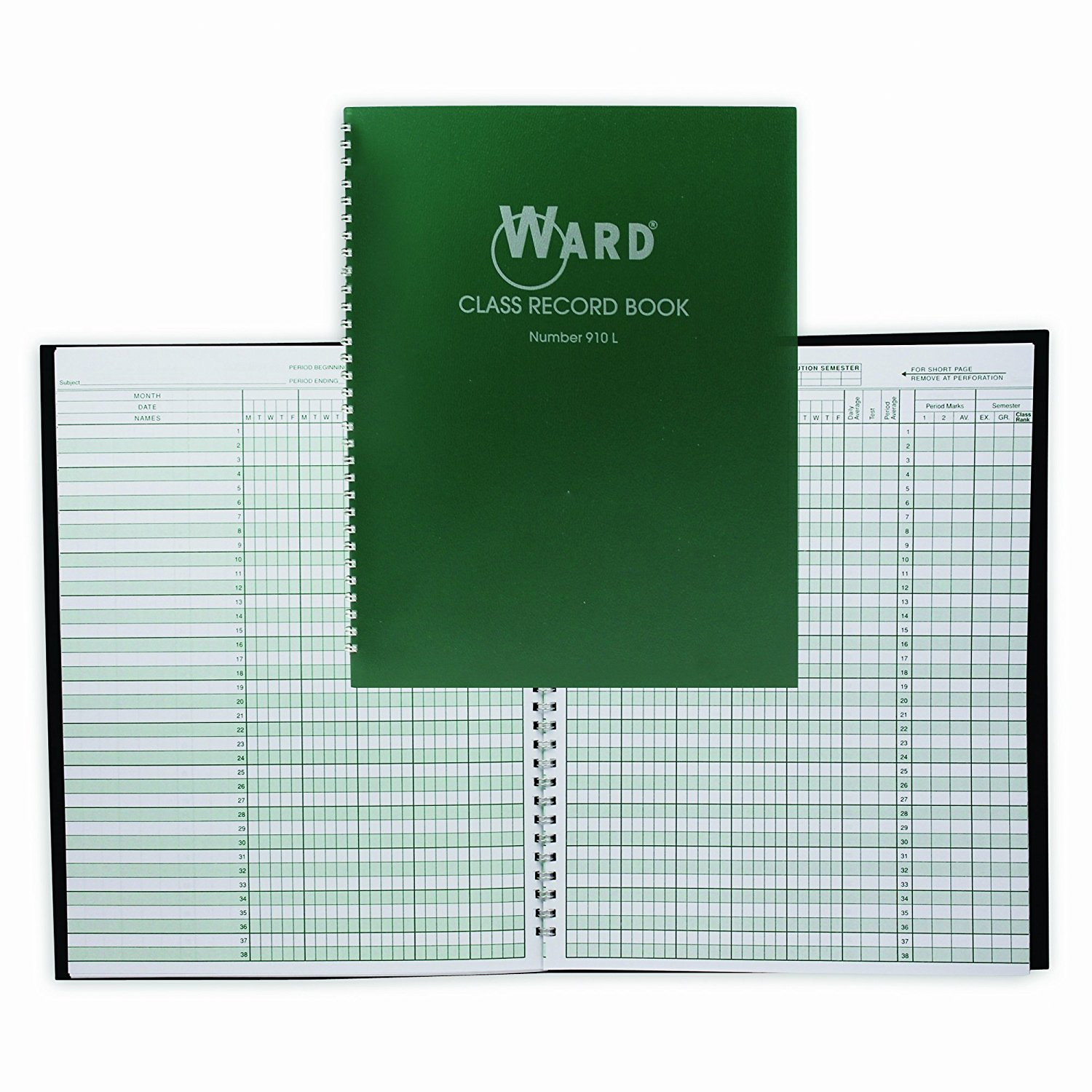 910L Class Record Book, 38 Students, 9-10 Week Grading, 11 x 8-1 2, Green (HUB910L), This book is very durable... by