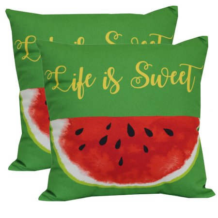 "Mainstays Outdoor Toss Pillow, 16"" x 16"", Watermelon - Set of 2"