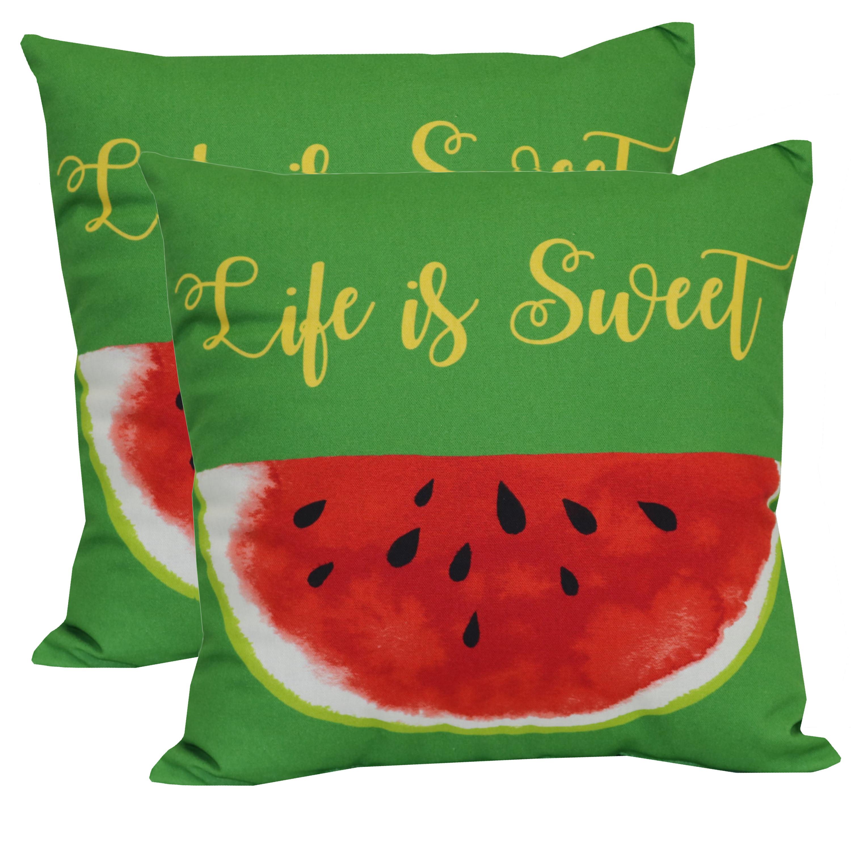 """Mainstays Outdoor Toss Pillow, 16"""" x 16"""", Watermelon - Set of 2"""